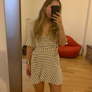 Free People Saylor White Striped Wrap Dress